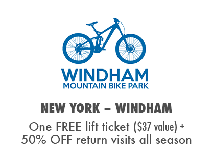 Receive one free lift ticket at Windham Mountain Bike Park plus 50% off return visits
