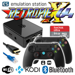 RETROPIE/X 64Gb Video Game Emulator + KODI [Black/2x GameSir]