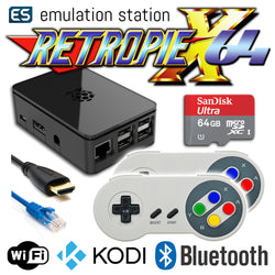 RETROPIE/X 64Gb Video Game Emulator + KODI [Black/2x SNES]