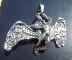Heavy Led Zeppelin Swan Song Pendant Sterling Silver 925