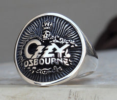 Heavy 3D Ozzy Osbourne Ring Solid Sterling Silver 925