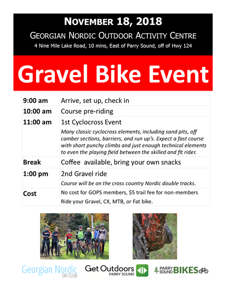 Gravel Ride on Nov 18 at Georgian Nordic Outdoor Activity Centre
