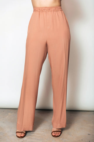 Bridgette Wideleg Pant | Metallic Gold