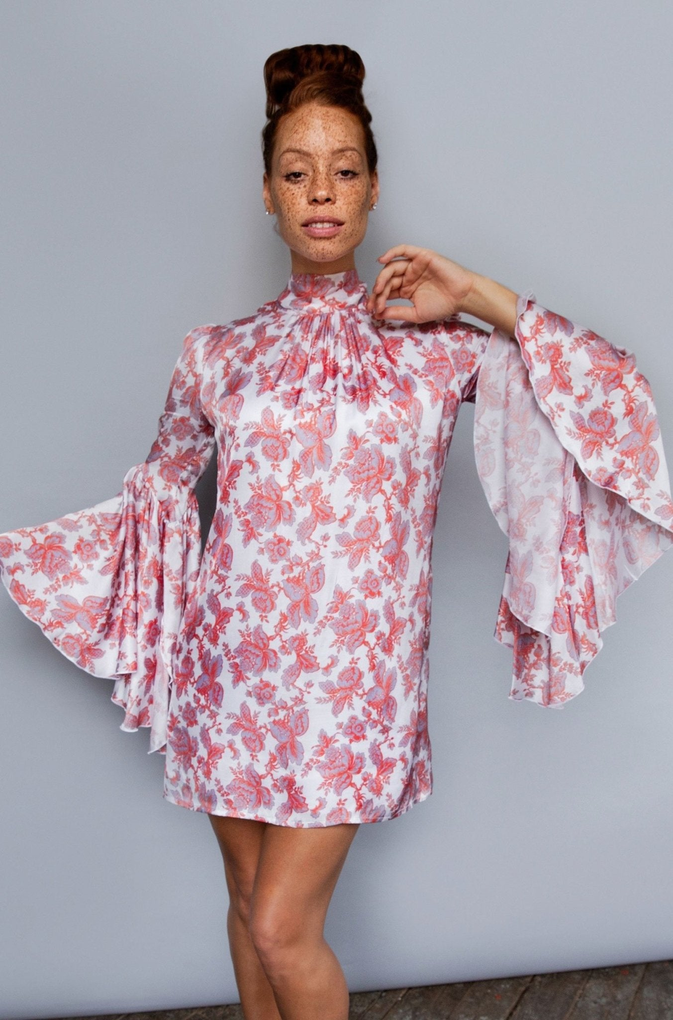 Champagne Sleeve Tunic Dress | White Floral Print - Chloe Kristyn