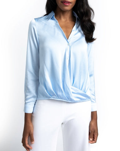 Veronica Ponte Long Sleeve Sleeve Top | Navy