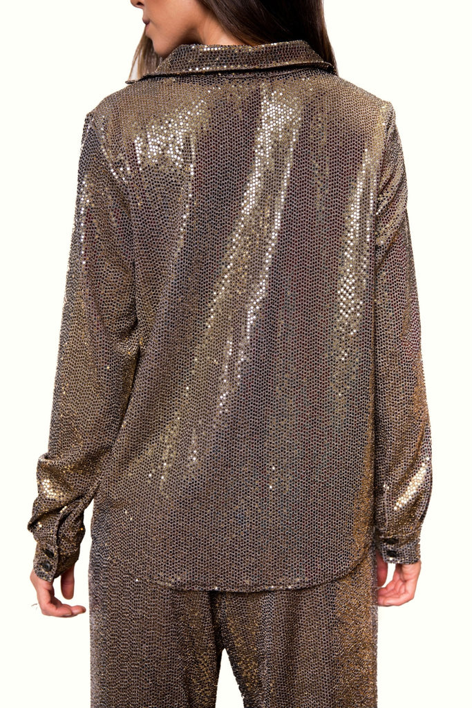 Dominique Button Down Wrap Top | Metallic Gold - Chloe Kristyn