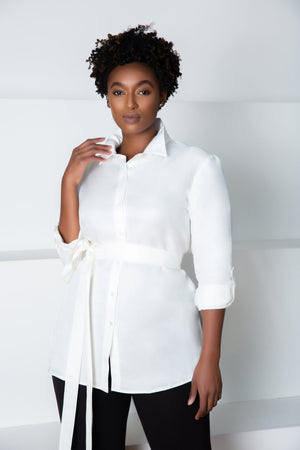 Erin Button Down Blouse | White Cupro - Chloe Kristyn