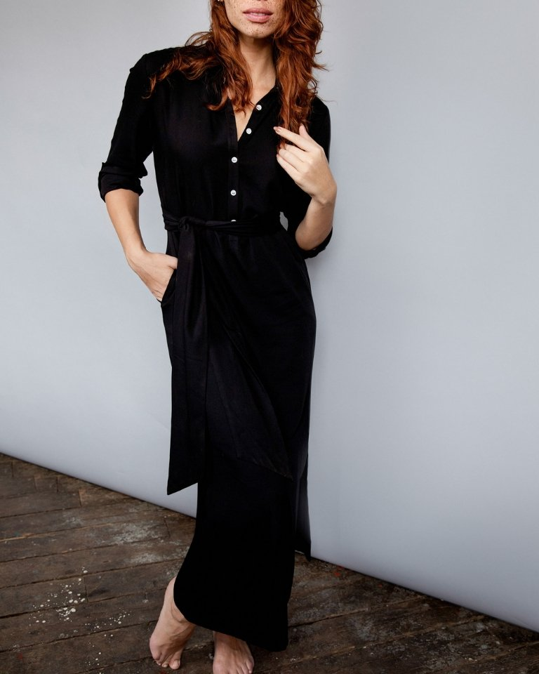 Morgan Maxi Length Henley Dress | Black - Chloe Kristyn
