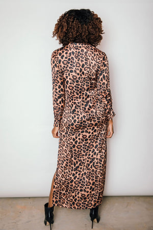Morgan Maxi Length Henley Dress | Leopard Print - Chloe Kristyn