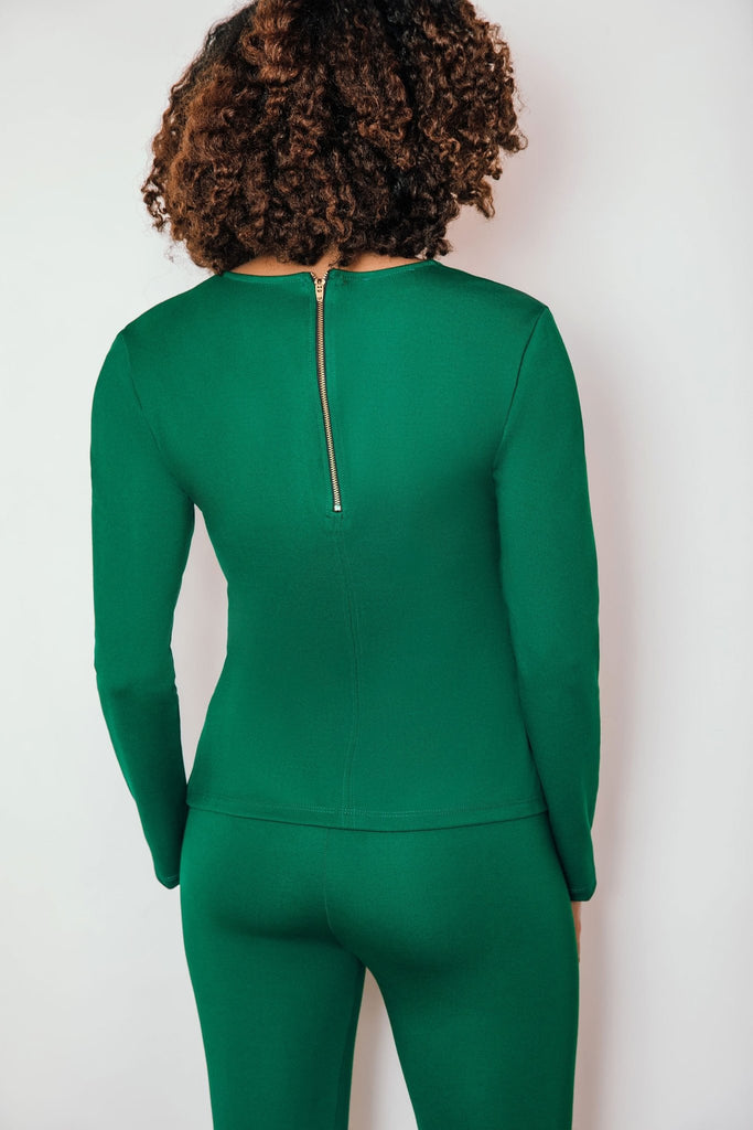 Veronica Ponte Long Sleeve Sleeve Top | Evergreen - Chloe Kristyn