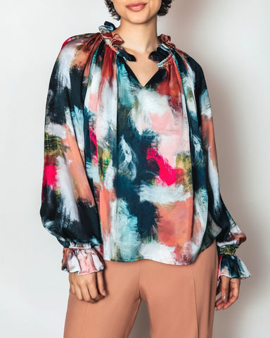 Bettina Button Down Top | Chloe Kristyn x Melissa Payne Baker Abstract Print