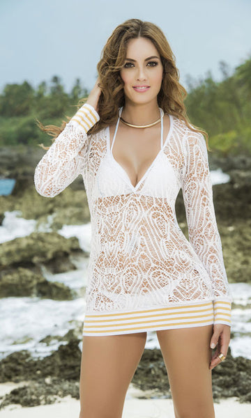 432c47db44101 Mapale  Long Sleeve Cover-Up Beach Dress