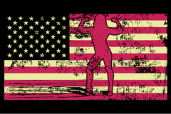 Female Bodybuilder Silhouette On The American Flag