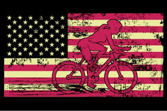 Female Cyclist Silhouette On The American Flag