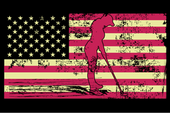 Female Golfer Silhouette On The American Flag