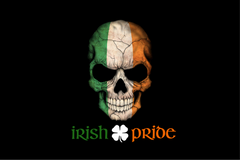 Irish Flag Skull Irish Pride Text