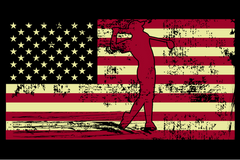 Male Golfer Silhouette On The American Flag