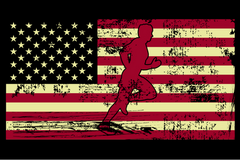 Male Jogger Silhouette On The American Flag