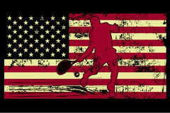 Male Tennis Player Silhouette On The American Flag