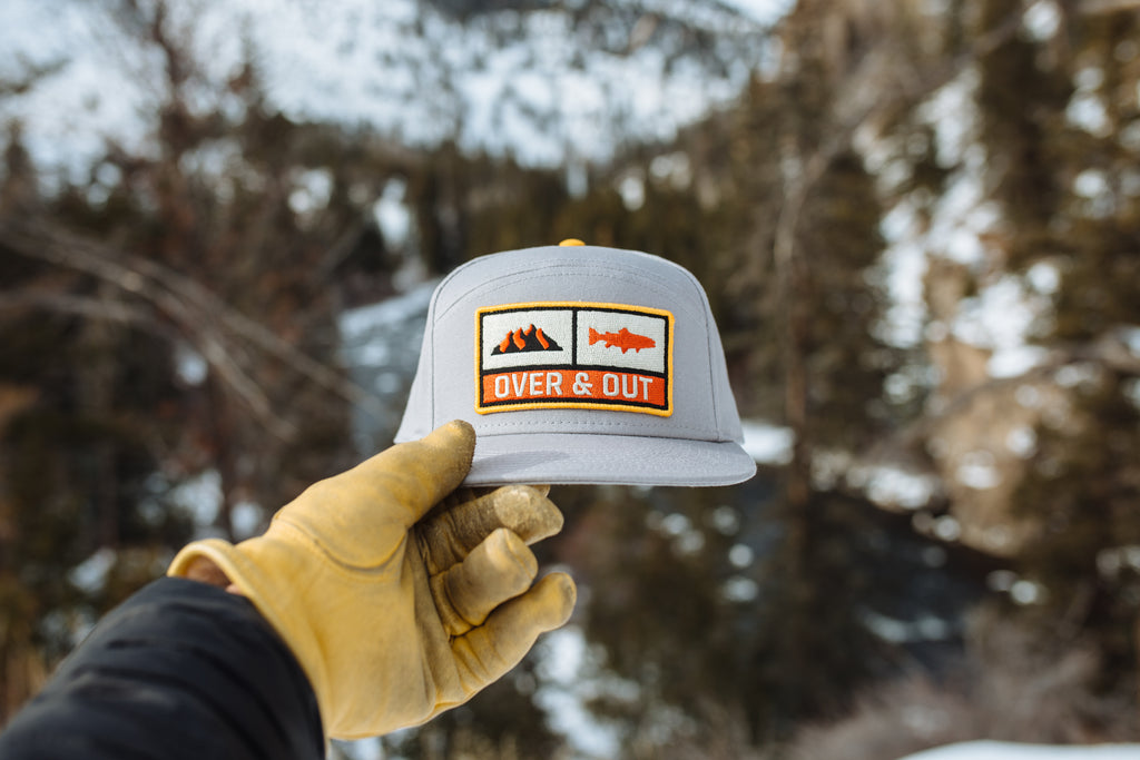 "Over & Out - Gray Ranger Trucker Hat in winter"" style="