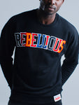 MEN'S CREW NECK VARSITY SWEATSHIRT - BLACK