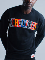 Rebellious Clothing Co. UNISEX CUT&SEW CREW NECK VARSITY SWEATSHIRT - BLACK