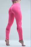 Rebellious Clothing Co. WOMEN'S HIGH-WAISTED MOTO YOGA LEGGINGS - FLAMINGO PINK