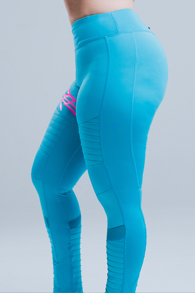 WOMEN'S HIGH-WAISTED MOTO YOGA LEGGINGS - ELECTRIC BLUE