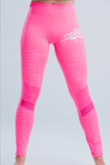 WOMEN'S HIGH-WAISTED MOTO YOGA LEGGINGS - FLAMINGO PINK