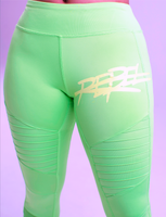 Rebellious Clothing Co. WOMEN'S HIGH-WAISTED MOTO YOGA LEGGINGS - SOUR APPLE GREEN