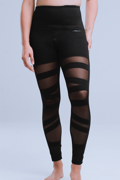 WOMEN'S HIGH-WAISTED BALLERINA CROSS YOGA LEGGINGS - NOIRE