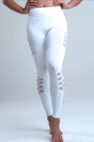 Rebellious Clothing Co. WOMEN'S HIGH-WAISTED DOUBLE CROSS YOGA LEGGINGS - WHITE FROST