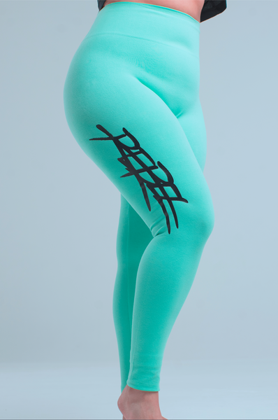 WOMEN'S HIGH-WAISTED REBEL YOGA LEGGINGS - TIFFANY BLUE