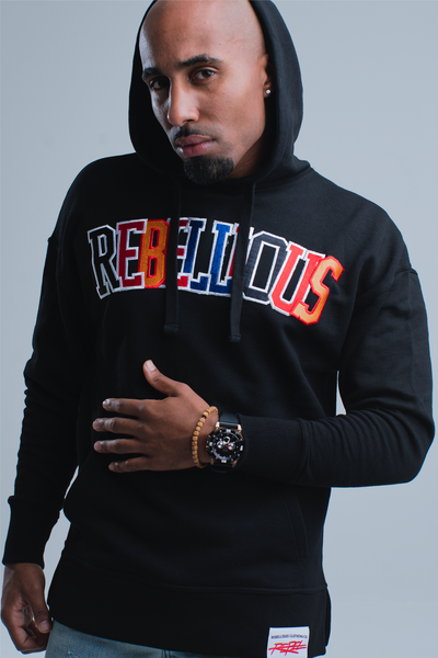 Rebellious Clothing Co. UNISEX CUT&SEW VARSITY PULLOVER HOODIE - BLACK