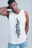 Rebellious Clothing Co. T-MONEY DISTRESSED TANK - WHITE
