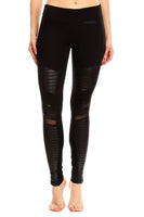 WOMEN'S HIGH-WAISTED SOFT LEATHER MOTO YOGA LEGGINGS - NOIRE