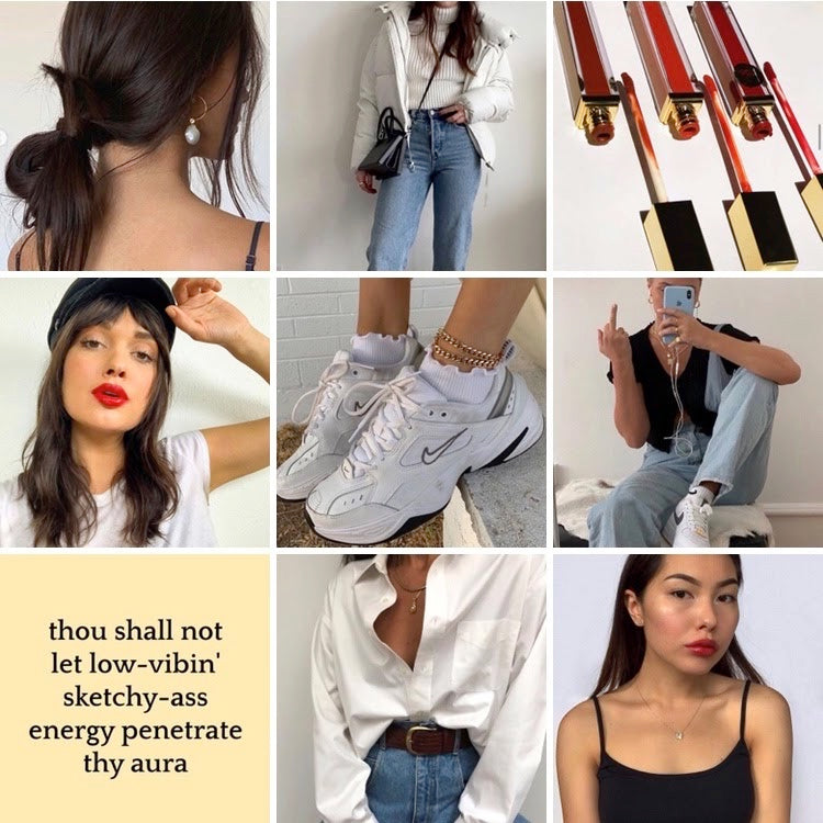 collage of casual messy bun, blue jeans, sneakers, gold accessories, and a white t-shirt outfit paired with red lipstick and tinted lip balms with inspiring quote thou shall not let low vibing sketchy ass energy penetrate thy aura