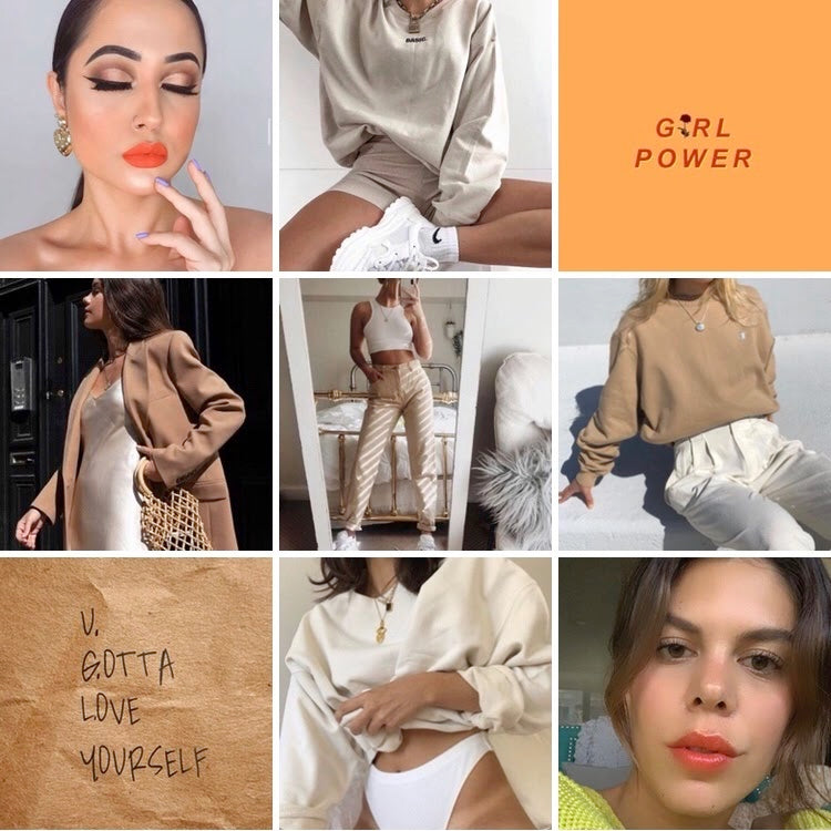 collage of camel tanned coloured loungewear paired with orange lipstick and tinted lipstick balms with inspiring quotes girl power and you gotta love yourself