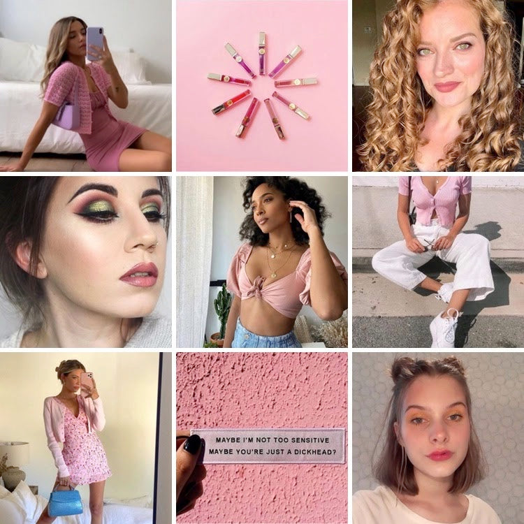 collage of pink monochrome outfits paired with nude lipsticks and tinted lip balms with quote maybe I'm not too sensitive maybe your just a dickhead