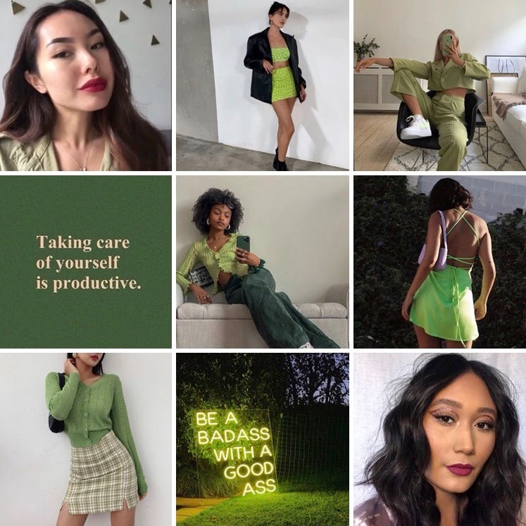 collage of green outfits paired with purple lipstick and tinted lipstick balms with inspiring quotes taking care of yourself is productive and be a badass with a good ass