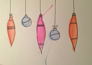 Christmas Card - Blue, Orange and Pink Pattern Baubles - eDgE dEsiGn London