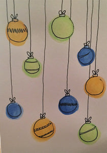 Christmas Card - Blue, Yellow and Green Pattern Baubles - eDgE dEsiGn London