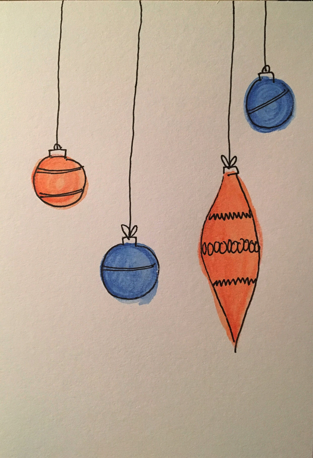 Christmas Card - Blue and Orange Pattern Baubles - eDgE dEsiGn London