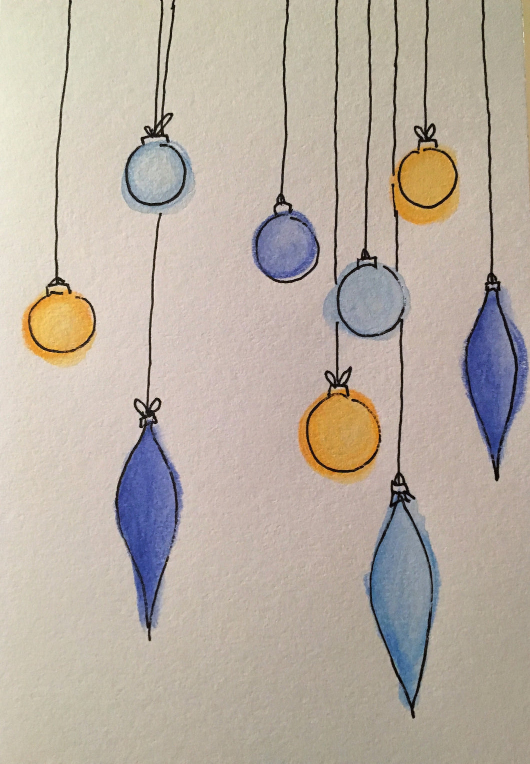 Christmas Card - Blue and Yellow Baubles - eDgE dEsiGn London