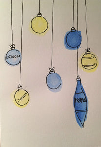 Christmas Card - Blue and Yellow Pattern Baubles - eDgE dEsiGn London