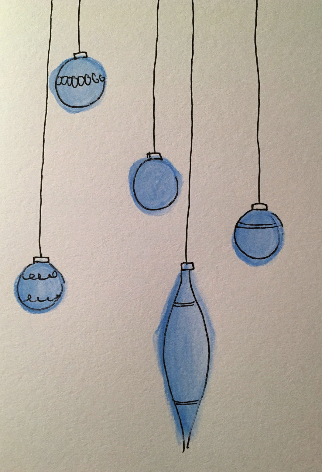 Christmas Card - Royal Blue Pattern Baubles - eDgE dEsiGn London