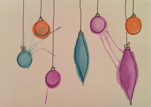 Christmas Card - Jade, Purple and Orange Baubles - eDgE dEsiGn London