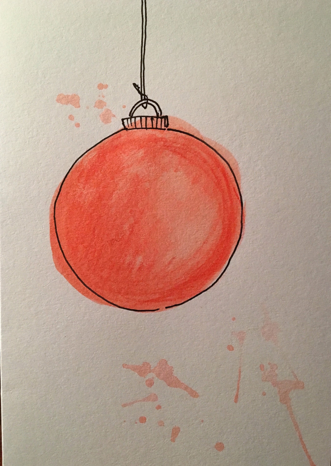 Christmas Card - Large Red Bauble - eDgE dEsiGn London