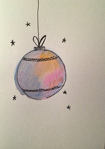 Christmas Card - Large Multicoloured Bauble - eDgE dEsiGn London