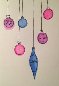 Christmas Card - Pink, Blue and Purple Pattern Baubles - eDgE dEsiGn London